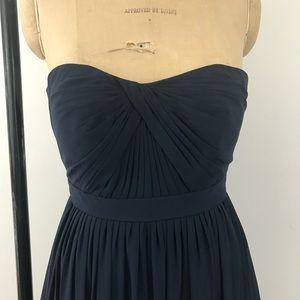 Jenny Yoo Collection strapless chiffon dress navy